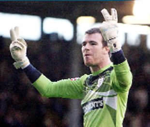 GESTURES: Preston keeper Andy Lonergan during the derby clash at Turf Moor
