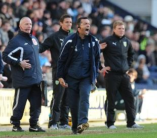 Preston North End's manager Phil Brown shouts to his players during the npower football League Championship match at Deepdale