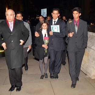 Benedict Barboza pictured with daughter Lisha, 14, and son Junal, 16, and Keith Vaz MP, left