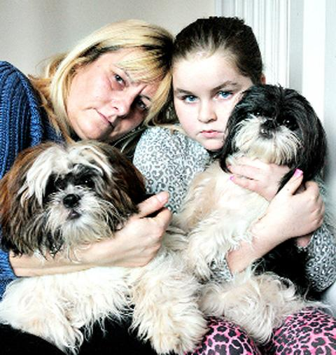 GRIEF-STRICKEN Sonia Hill and daughter Britney with their other dogs Lulu and Katie