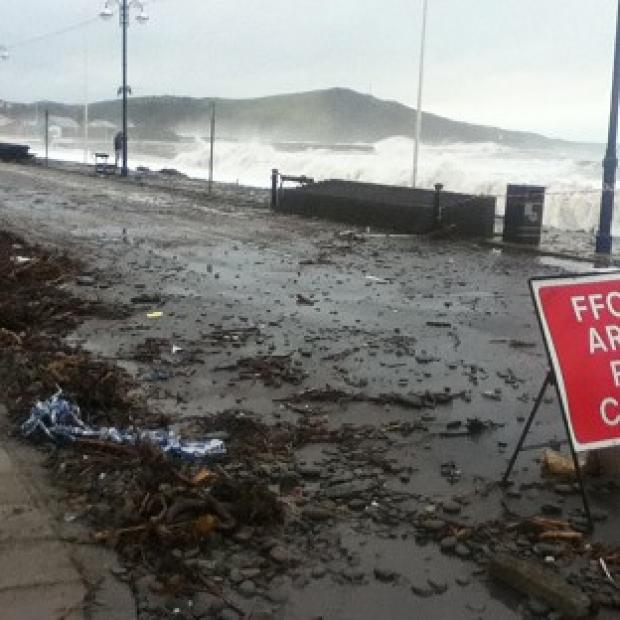 Preston and Leyland Citizen: The seafront at Aberystwyth, Ceredigion, has been battered by the elements.