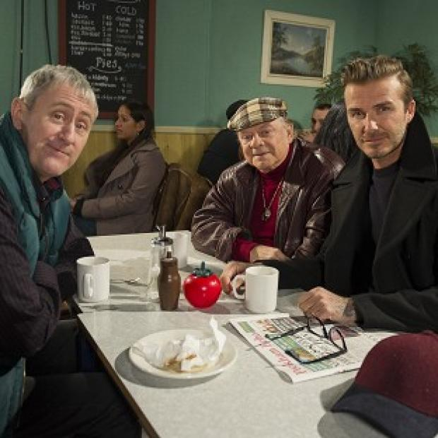 Preston and Leyland Citizen: David Beckham joins Sir David Jason and Nicholas Lyndhurst for a special Only Fools and Horses sketch reuniting Del Boy and Rodney for the first time in a decade (Comic Relief/PA)