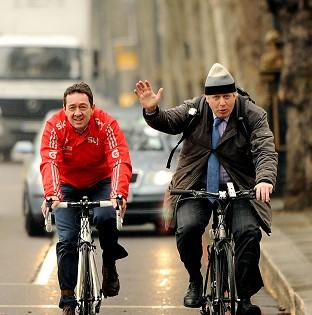 Britain needs to embrace cycling says Chris Boardman, pictured with the mayor of London Boris Johnson