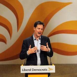Nick Clegg speaks during the Liberal Democrat Spring Conference at the Barbican Centre, York