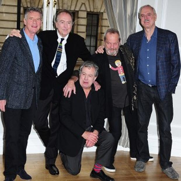 Preston and Leyland Citizen: Left to right: Michael Palin, Eric Idle, Terry Jones, Terry Gilliam and John Cleese, the five remaining Pythons