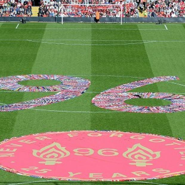 Preston and Leyland Citizen: Fans' scarves make up a 96, filling the centre circle before the Hillsborough 25th Anniversary Memorial Service at Anfield Stadium, Liverpool