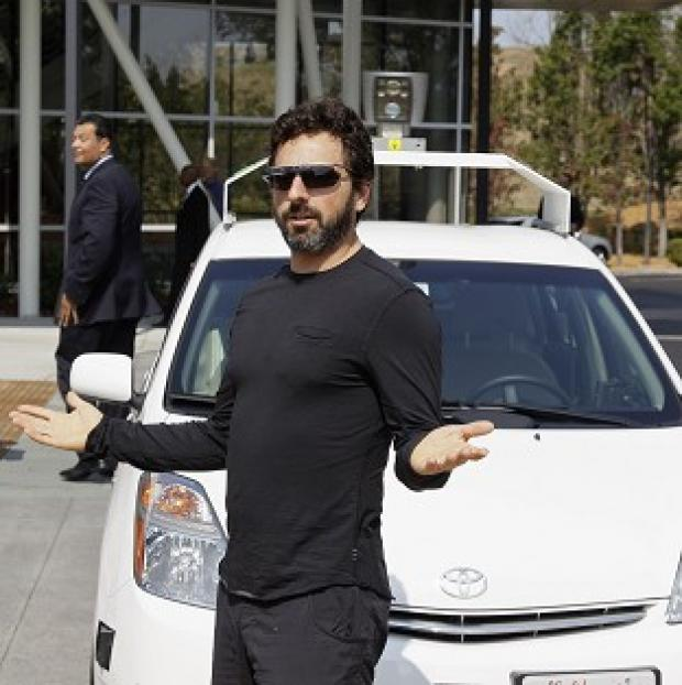 Preston and Leyland Citizen: Google co-founder Sergey Brin with a driverless car in Mountain View, California
