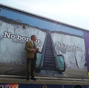 Preston and Leyland Citizen: Ukip leader Nigel Farage launches the party's billboard campaign for the Euro-elections in Dover