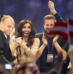 Preston and Leyland Citizen: Austria's Conchita Wurst, who performed the song Rise Like a Phoenix, listens as points are announced at the final of the Eurovision Song Contest in Denmark (AP)