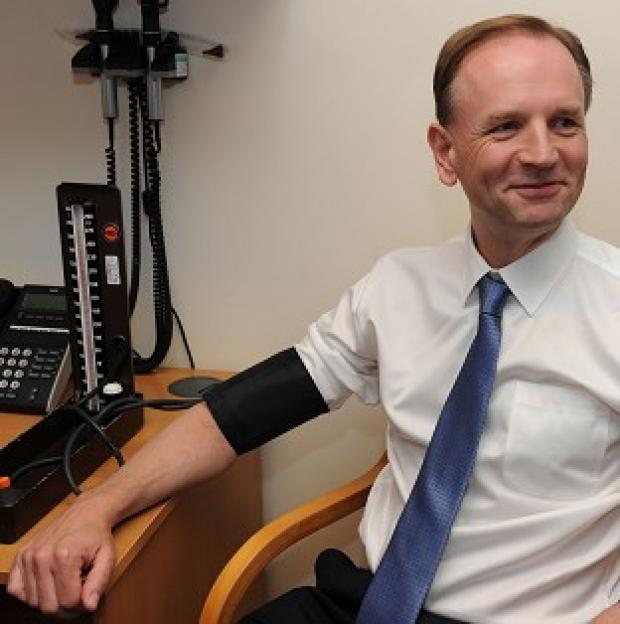 Preston and Leyland Citizen: New NHS chief executive Simon Stevens, pictured having his blood pressure taken
