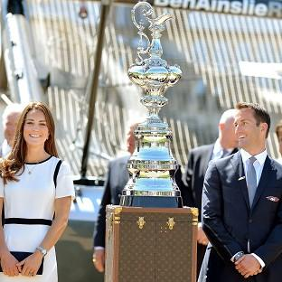 Preston and Leyland Citizen: The Duchess of Cambridge with Sir Ben Ainslie in front of the America's Cup during a visit to the National Maritime Museum, London