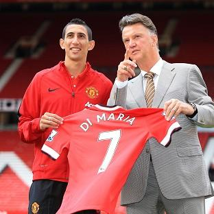 Angel di Maria, left, was unveiled at Old Traff