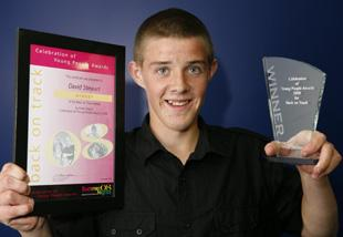 WINNER: David Stewart, 15, from Ingol, Preston, wins a laptop as the overall winner at Lancashire Constabulary's Celebration of Young People's Awards