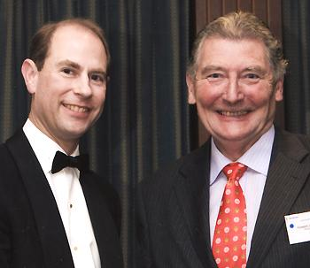 AWARD: Howard Jones, former secretary of Preston Swimming Club, with the Earl of Wessex
